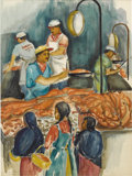 Texas:Early Texas Art - Regionalists, DORIS CHILDRESS (dec. 2001). Fish Market, 1957. Watercolorand ink. 16in. x 12in.. Signed and dated lower right. In th...