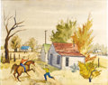 Texas:Early Texas Art - Regionalists, GEORGE GRAMMER (1928-). Untitled, 1951. Watercolor (twosided). 21.5in. x 27in.. Signed and dated lower right. Other sid...
