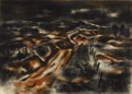 Texas:Early Texas Art - Regionalists, J.J. MCVICKER (1911-2004). Eroded County, 1947. Charcoal andpastel. 17in. x 24in.. This charcoal and pastel uses imag...