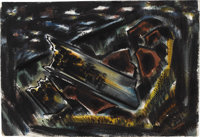 J.J. MCVICKER (1911-2004) Campfire Site, 1947 Watercolor 15.75in. x 23in. Signed and dated lower right Dated and ti