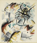 Texas:Early Texas Art - Regionalists, Otis Dozier (1904-1987) Black Widow, 1931 Watercolor on paper 131/2 x 11in. Signed lower right: Otis Dozier, Oct. 193...