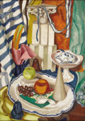 Texas:Early Texas Art - Regionalists, Ethel Spears (1903-1974) Still Life with Fruit and Piggy Bank, c.1929 Oil on canvas 34 x 24in. Unsigned: Letter from the...