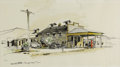 "Texas:Early Texas Art - Regionalists, EDWARD MUEGGE ""BUCK"" SCHIWETZ (1898-1984). General Store, CampWood, TX, 1955. Watercolor and pen on paper. 8in. x 14.5i..."