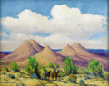 Texas:Early Texas Art - Impressionists, DWIGHT HOLMES (1900-1985). Prospector, North of the SandiaMountains, NM. Oil on board. 22in. x 28in.. Signed lowerleft...