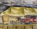 Texas:Early Texas Art - Regionalists, KELLY FEARING (1918-). The Circus Tent, 1939. Watercolor.16.5in. x 20.5in.. Signed and dated lower right. Titled lower ...