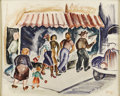 Texas:Early Texas Art - Regionalists, KELLY FEARING (1918-). Downtown Corner, 1941. Watercolor.16.5in. x 20.5in.. Signed and dated lower right. In the 1940...