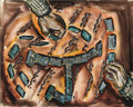 "Texas:Early Texas Art - Regionalists, KELLY FEARING (1918-). Dominoes, 1941. Watercolor. 20in. x16in.. Signed and dated lower right. ""Dominoes was the game..."