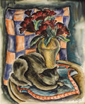 Texas:Early Texas Art - Regionalists, Kelly Fearing (1918- ) Still Life Sleeping Cat and Cock's Comb, 1939 Watercolor on paper 20 5/8 x 16 3/4in. Signed lo...