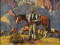 Texas:Early Texas Art - Regionalists, FRED DARGE (1900-1978). On Guard. Oil on canvas. 18in. x24in.. Signed lower right. Titled verso. Fred Darge received ...
