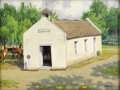 Texas:Early Texas Art - Regionalists, FRED DARGE (1900-1978). La Lomita Chapel (Founded by OblateFathers, Mission, Texas). Oil on canvasboard. 12in. x 16in....