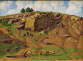 Texas:Early Texas Art - Regionalists, FRED DARGE (1900-1978). Untitled. Oil on canvasboard. 12in.x 16in.. Signed lower right. A wonderful composition of ro...