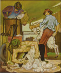 Texas:Early Texas Art - Regionalists, BUCK WINN (1905-1979). Sheep Shearing, 1934. Oil on canvas.32in. x 27in.. Signed verso. This painting titled Sheep ...