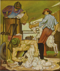 BUCK WINN (1905-1979) Sheep Shearing, 1934 Oil on canvas 32in. x 27in. Signed verso  This painting titled Sheep
