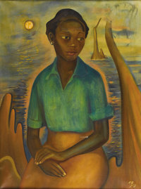 DON BROWN (1898-1958) Swamp Girl, 1953 Oil on canvas 32in. x 24in. Signed and dated lower right  Don Brown moved t