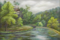 Texas:Early Texas Art - Regionalists, MARILYN MILLER KINCHELOE (1911-1999). Deer Leap, Roaring RiverState Park, Missouri, 1930's. Pastel. 12in. x 17.5in.. Si...