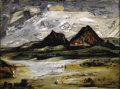 Texas:Early Texas Art - Regionalists, EVERETT SPRUCE (1908-2002). Davis Mts, 1945. Oil onmasonite. 12in. x 16in.. Signed lower left. Signed, dated andtitled...