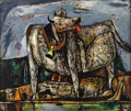 Texas:Early Texas Art - Regionalists, EVERETT SPRUCE (1908-2002). White Cow, 1948. Oil onmasonite. 20in. x 24in.. Signed lower left. Signed, dated andtitled...