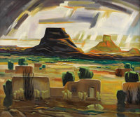 DOEL REED (1895-1985) Adobe and Mesas Oil on linen 30in. x 36in. Signed lower left  One element of Modernism is th