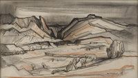 DOEL REED (1895-1985) Untitled Landscape, 1969 Charcoal and pastel on paper 13.5in x 23in. Signed and dated lower ri