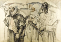 JOHN BIGGERS (1924-2001) The Three Kings, 1990 Conte crayon 41in. x 60in. Signed lower right  John Biggers is inte