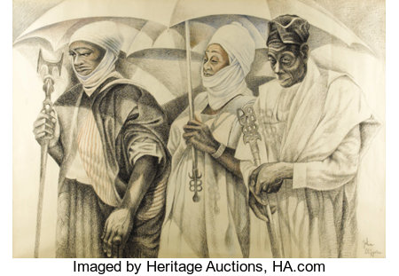 JOHN BIGGERS (1924-2001)The Three Kings, 1990Conte crayon41in. x 60in.Signed lower rightJohn Biggers is inte...