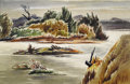 Texas:Early Texas Art - Regionalists, WILLIAM LESTER (1910-1991). Light on the River, early1940's. Watercolor. 24in. x 30in.. Signed and titled verso. A mi...
