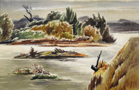WILLIAM LESTER (1910-1991) Light on the River, early 1940's Watercolor 24in. x 30in. Signed and titled verso  A mi