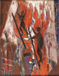 Texas:Early Texas Art - Modernists, WILLIAM LESTER (1910-1991). Fire, 1959. Oil on linen. 44in x34in.. Signed, dated and titled verso. William Lester use...