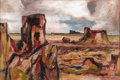Texas:Early Texas Art - Regionalists, OTIS DOZIER (1904-1987). Red Landscape, 1968-1985. Oil onmasonite. 24in x 36in. Signed and dated lower right. Signed, d...