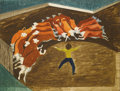 Texas:Early Texas Art - Modernists, Seymour Fogel (1911-1984) Corralled Steers, c.1941-1942 Gouache onpaper 19 x 24in. Estate stamped verso Provenance: Es...