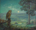 Texas:Early Texas Art - Regionalists, JOHN ORTH (1889-1976). Owl. Oil on canvas. 20in. x 24in..Signed lower right. The owl, the moon, and the large tree ar...