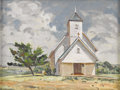 Texas:Early Texas Art - Regionalists, J.B. ERWIN (1920-). Round Grove United Church, 1973. Oil oncanvasboard. 12in. x 16in.. Signed lower right. A typical ...