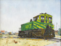Texas:Early Texas Art - Regionalists, J.B. ERWIN (1920-). MKT Engine, 1970's. Oil on masonite. 18in. x 24in.. Signed lower right. Rail yards and engines hav...
