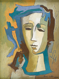 BROR UTTER (1913-1993) Head of Girl, 1960 Oil on canvas 12in. x 16in. Signed and dated lower right Titled verso