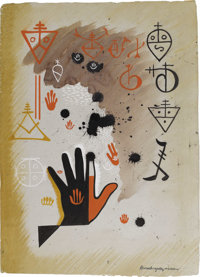XAVIER GONZALEZ (1898-1993) Astrology, 1945 Ink, watercolor, gouache on paper 26.5in. x 19in. Signed lower right