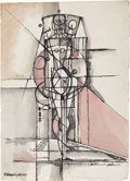 Texas:Early Texas Art - Modernists, XAVIER GONZALEZ (1898-1993). Aproximarse - destruirla,destruirla, 1945. Watercolor and ink on paper. 26.5in. x 19in..S...