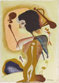 Texas:Early Texas Art - Modernists, XAVIER GONZALEZ (1898-1993). Cave Warrior, 1945. Gouache,watercolor, and crayon on paper. 26.5in. x 19in.. Signed and d...