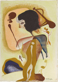 XAVIER GONZALEZ (1898-1993) Cave Warrior, 1945 Gouache, watercolor, and crayon on paper 26.5in. x 19in. Signed and d