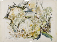 XAVIER GONZALEZ (1898-1993) Mexico, 1945 Watercolor 20.5in. x 28in. Signed, dated and titled lower left  The abstr