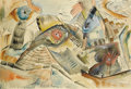 Texas:Early Texas Art - Modernists, ROBERT PREUSSER (1919-1992). Untitled 1937, 1937.Watercolor. 13.5in. x 20in.. Signed and dated lower center. In this...