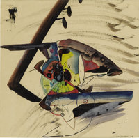 ROBERT PREUSSER (1919-1992) Untitled (Fish), 1936 Watercolor 9in. x 9in. Signed and dated lower right Date and titl