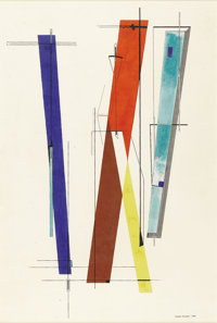 ROBERT PREUSSER (1919-1992) Untitled #7, 1940 Casein 19.5in. x 13in. Signed and dated lower right Signed, dated and