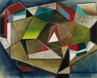 ROBERT PREUSSER (1919-1992) Angular Construction, 1940 Oil on paper 13in. x 17.25in. Signed lower right  An excell