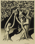 Texas:Early Texas Art - Modernists, ROBERT PREUSSER (1919-1992). Tree Animals, 1947. Charcoal,pencil on paper. 12in. x 9.5in.. Signed lower right. Signed, ...