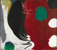 JAMES BROOKS (1906-1970) Ivaro, 1968 - 1970 Acrylic on canvas 28in. x 32in. Signed lower left Signed, dated and tit