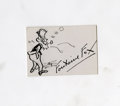 "Autographs:Artists, Fontaine Fox Pin-and-Ink Cartoon Signed, ""Fontaine Fox,"" 3""x 2"", card stock, np, nd. Fox was an American cartoonist, an..."