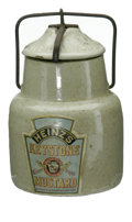 Advertising:Display Jars, Small Heinz Keystone Mustard Crock. Comes with handle still intact and functional. The area where the logo is printed is sli...