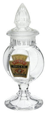 """Heinz Show Jar. Intended to display Heinz """"Spiced Pickles"""" at the local store, this Heinz jar bears the Keysto..."""