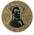 Political:Ferrotypes / Photo Badges (pre-1896), 1864 Abraham Lincoln/Andrew Johnson Gault Frame Ferrotype. Largesize and unique format make this one of the most desired 18...