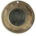 Political:Ferrotypes / Photo Badges (pre-1896), 1860 Lincoln/Hamlin Ferrotype. Measures 26mm. This ferrotypefeatures the portrait of a beardless Lincoln and Hamlin both se...